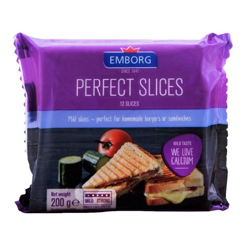 Emborg Perfect Cheese Slices, 12 Pieces, Mild Taste, 200g
