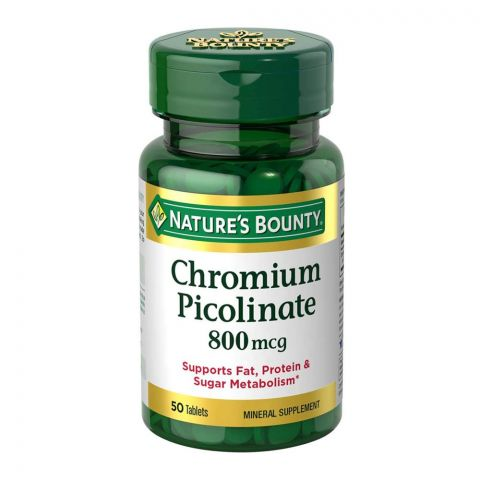 Nature's Bounty Chromium Picolinate, 800mcg, 50 Tablets, Mineral Supplement
