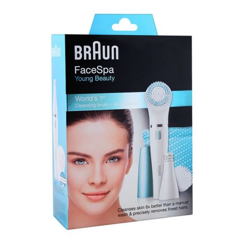 Braun FaceSpa Young Beauty Cleansing Brush + Mini Epilator, 832E