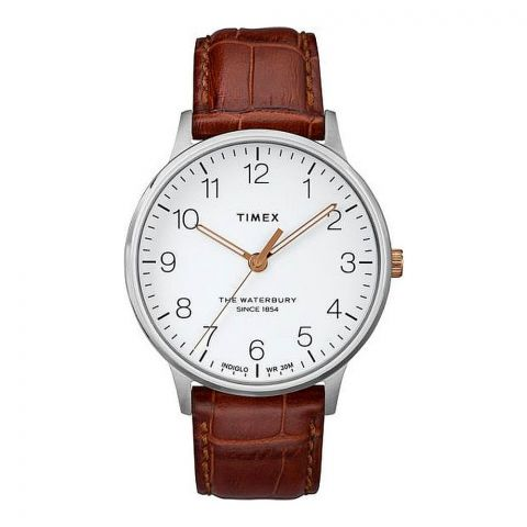Timex Men's Waterbury Classic Brown Leather Strap Watch, White Dial, TW2R95900