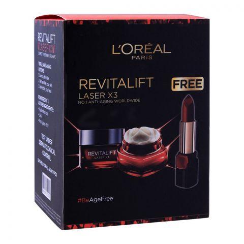 L'Oreal Paris Revitalift Laser X3 Anti-Aging Power Day Cream 50ml + FREE Lipstick