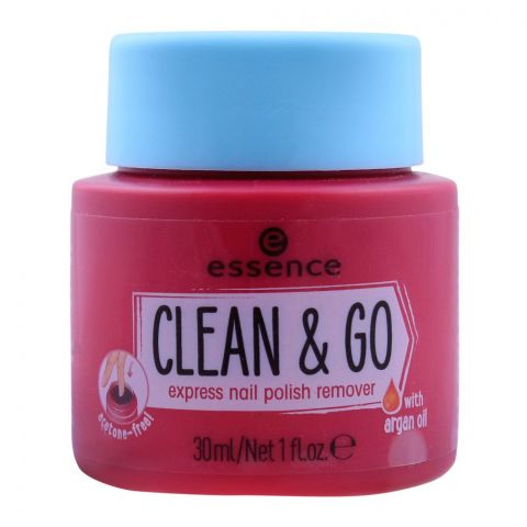 Essence Clean & Go Express Nail Polish Remover, With Argan Oil, 30ml