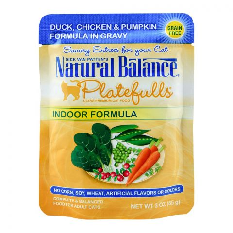 Natural Balance Duck, Chicken & Pumpkin Gravy Cat Food, 85g, (Pouch)
