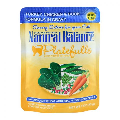 Natural Balance Turkey, Chicken & Duck Gravy Cat Food, 85g, (Pouch)