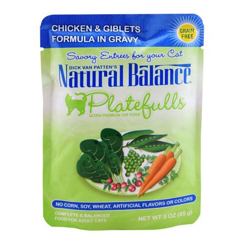 Natural Balance Chicken & Giblets Gravy Cat Food, 85g, (Pouch)