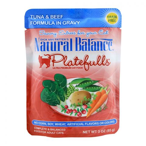 Natural Balance Tuna & Beef Gravy Cat Food, 85g, (Pouch)