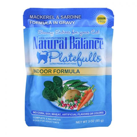 Natural Balance Mackerel & Sardine Gravy Cat Food, 85g, (Pouch)