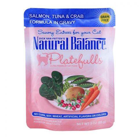 Natural Balance Salmon, Tuna & Crab Gravy Cat Food, 85g, (Pouch)