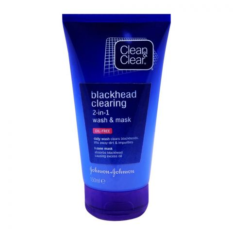 Clean & Clear Blackhead Clearing 2-in-1 Wash & Mask, Oil-Free, 150ml