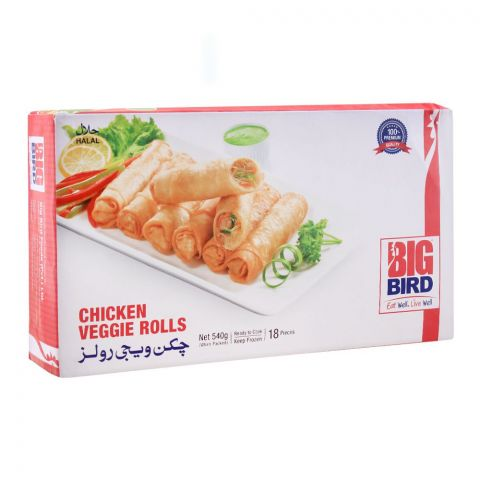 Big Bird Chicken Veggie Rolls, 18 Pieces, 540g