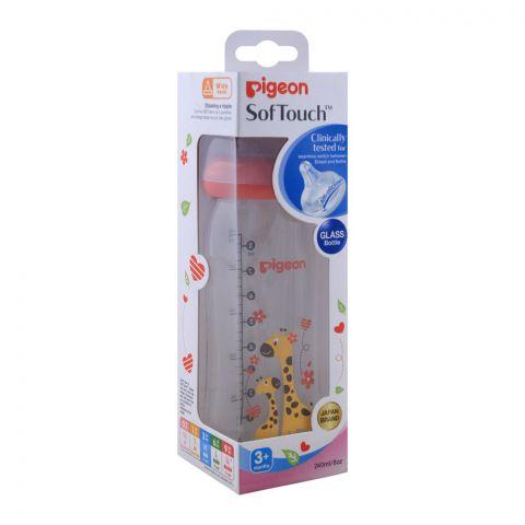 Pigeon Soft Touch Glass Bottle, 3+ Months, 240ml, Giraffe, A-78028