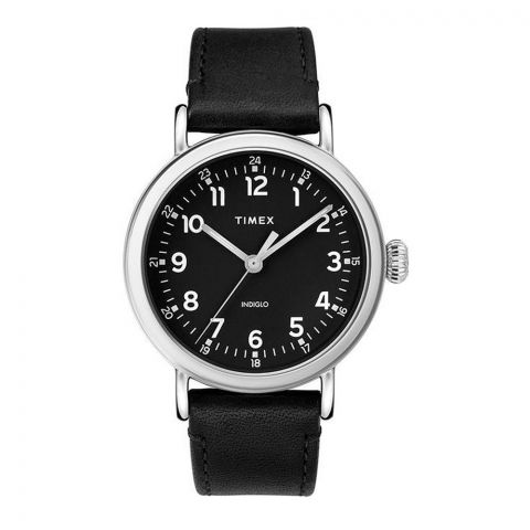 Timex Men's Standard 40mm Leather Strap Watch, Black Dial, TW2T20200