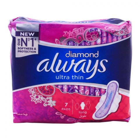 Always Diamond Ultra Thin Pads, Long, 7-Pack