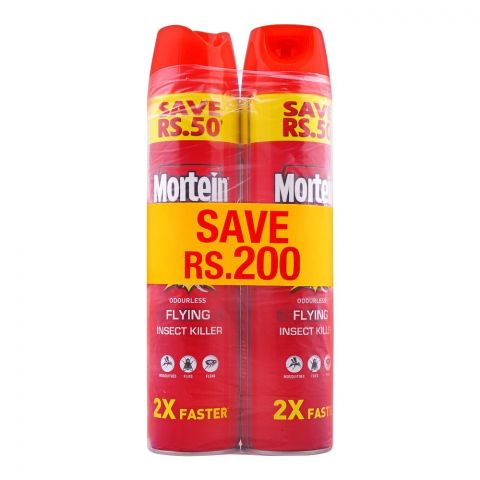 Mortein Odourless Flying Insect Spray, 2X Faster 2x550ml, Save Rs. 200