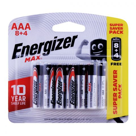 Energizer MAX AAA Batteries, 8+4, Super Saver Pack, BP8+4
