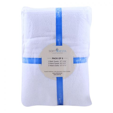 Soft Siesta Bath + Hand + Wash Towels, Pack Of 6, White