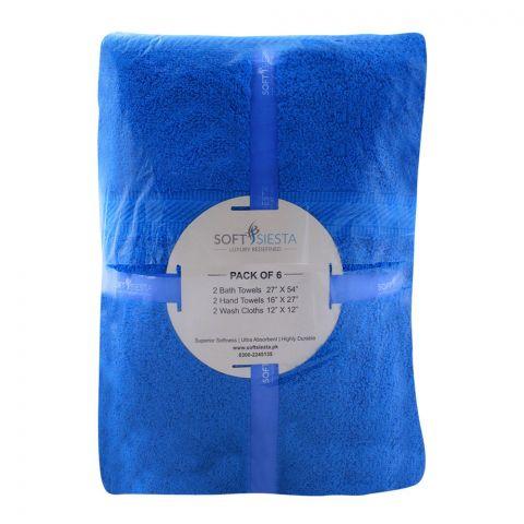 Soft Siesta Bath + Hand + Wash Towels, Pack Of 6, Crystal Teels