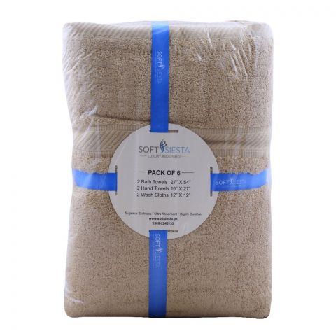 Soft Siesta Bath + Hand + Wash Towels, Pack Of 6, Beige