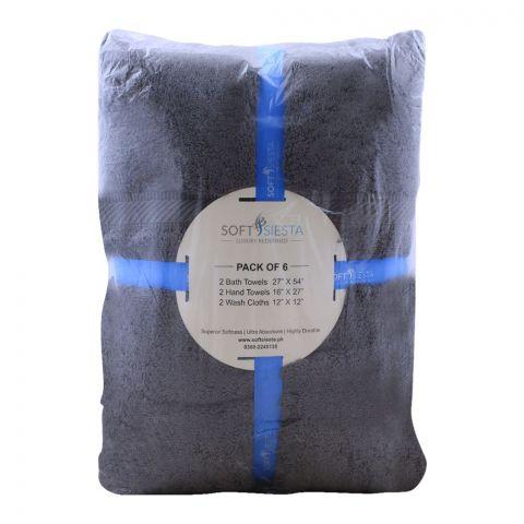 Soft Siesta Bath + Hand + Wash Towels, Pack Of 6, Charcoal Grey