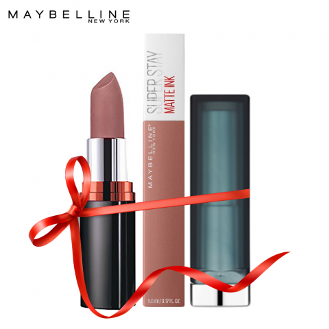 Maybelline Color Crazy - Nude (Color Show Mysterious Mocha + Superstay Matte Ink Seductress + Color Sensational Beige Babe), FREE POUCH