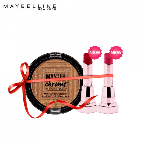 Maybelline License to Shine - Master Chrome Bronze + Shine Compulsion (Luscious Red + Provocative Red), FREE POUCH
