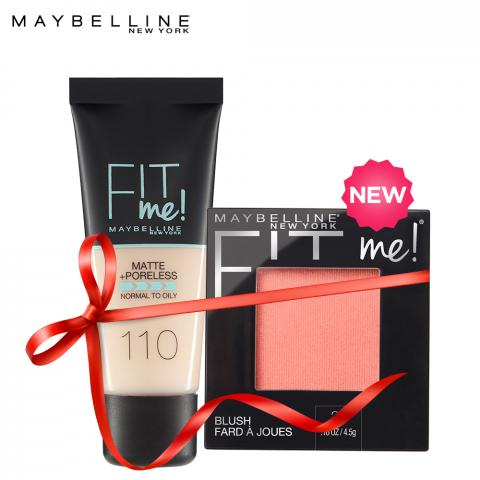 Maybelline Fit Me Liquid Foundation Matte & Poreless 110 Porcelain + Fit Me Mono Blush Pink