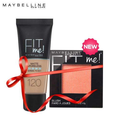 Maybelline Fit Me Liquid Foundation Matte & Poreless 120 Classic Ivory + Fit Me Mono Blush Peach