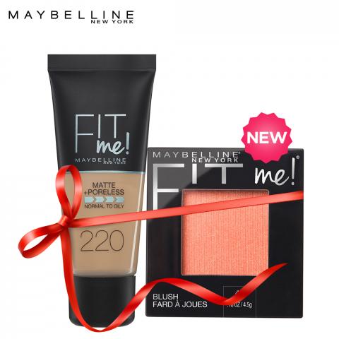Maybelline Fit Me Liquid Foundation Matte & Poreless 220 Natural Beige + Fit Me Mono Blush Peach