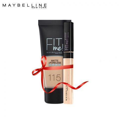 Maybelline Fit Me Liquid Foundation Matte & Poreless 115 Ivory + Concealer 15 Fair