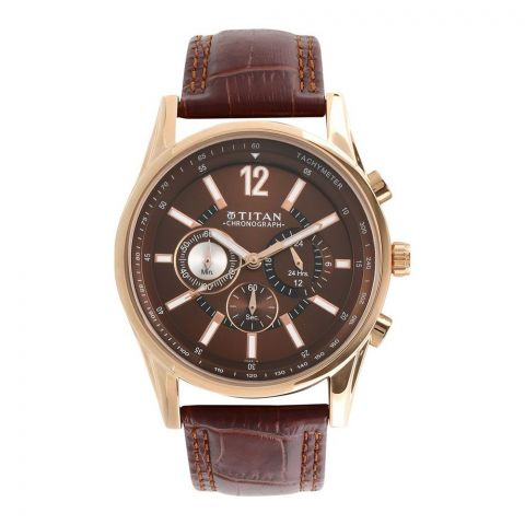 Titan Classique Chronograph Analog Brown Dial Men's Watch, Leather Strap, 9322 WL 06