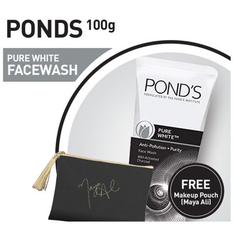 Pond's Pure White Face Wash 100gm + Black Makeup Pouch (Maya Ali)