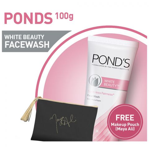 Pond's White Beauty Face Wash 100gm + Black Makeup Pouch (Maya Ali)