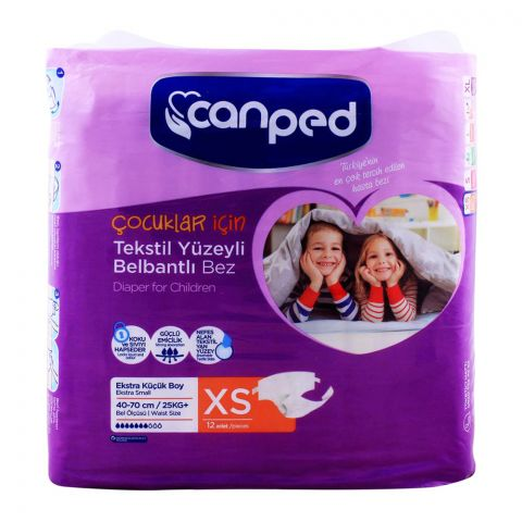 Canped Adult Diaper Extra Small, 40-70 cm, 25 KG+, 12-Pack
