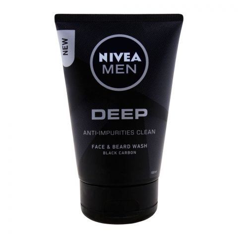 Nivea Men Deep Anti-Impurities Clean Face & Beard Wash, Black Carbon, 100ml