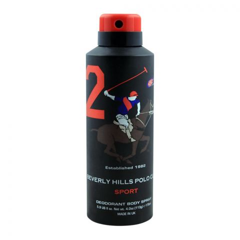 Beverly Hills Polo Club Sport 2 Deodorant Body Spray, 175ml