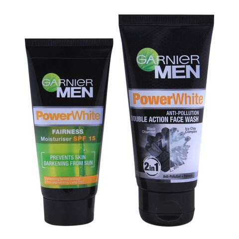 Garnier Men PowerWhite Face Wash + FREE PowerWhite Moisturiser  SPF 15
