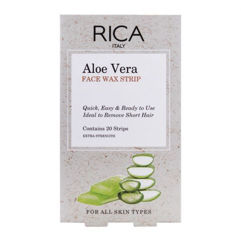RICA Aloe Vera Cold Face Wax Strip, All Skin Types, 20-Pack