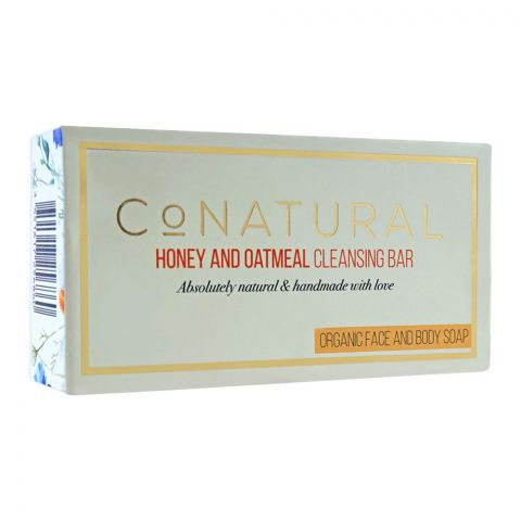 CoNatural Honey And Oatmeal Cleansing Organic Face And Body Soap, 107g