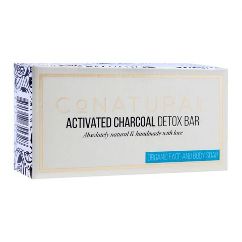 CoNatural Activated Charcoal Detox Bar Organic Face And Body Soap, 107g