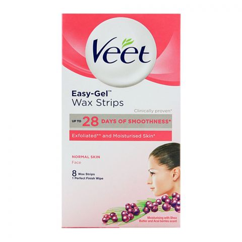 Veet Easy-Gel Face Wax Strips, For Normal Skin, 8-Pack