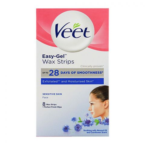 Veet Easy-Gel Face Wax Strips, For Sensitive Skin, 8-Pack
