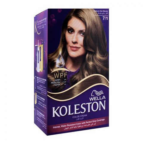 Wella Koleston Color Cream Kit, 7/1 Medium Ash Blonde