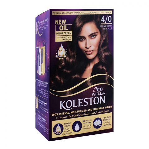 Wella Koleston Color Cream Kit, 4/0 Medium Brown