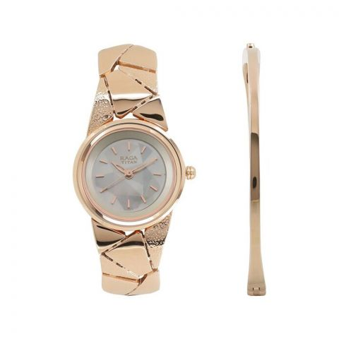 Titan Raga Mother Of Pearl Round Dial Metal Strap Watch For Women, 2583WM01