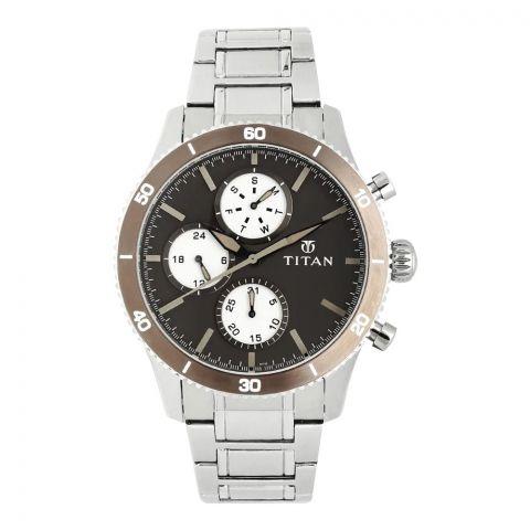Titan Analog Brown Round Dial Stainless Steel Strap Men's Watch, 90105KM01