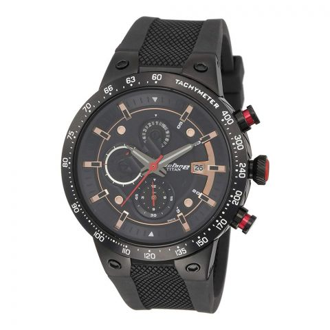 Titan Signature Octane Black Dial Chronograph Men's Watch, 1761KP02