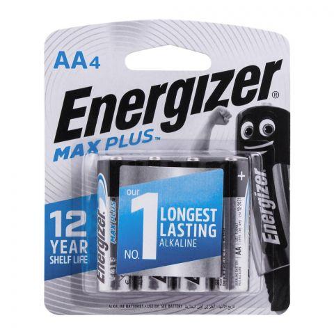 Energizer AA Max Plus Longest Lasting Alkaline Batteries, 4-Pack, AA LR6