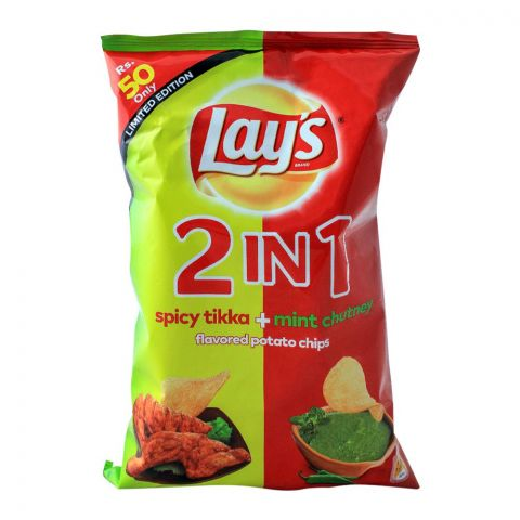 Lays 2-In-1 Spicy Tikka + Mint Chutney Potato Chips, 64gm