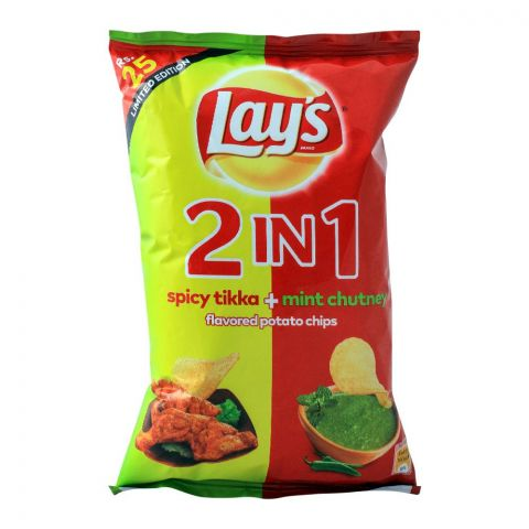 Lays 2-In-1 Spicy Tikka + Mint Chutney Potato Chips, 31gm