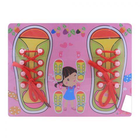 Live Long Wooden Laces Learning Board, Pink, 2305-15